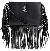 Saint Laurent Monogram fringed leather clutch