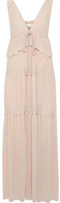 See by Chloe Tiered Crinkled-gauze Peplum Maxi Dress
