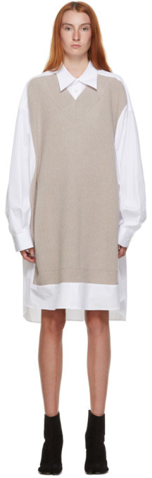 Maison Margiela White and Beige Knit Shirt Dress