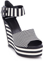 Canvas-stripe wedge shoes