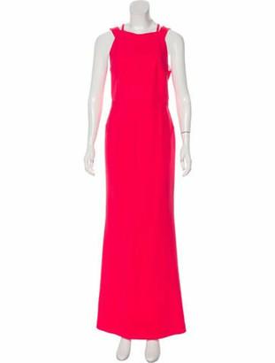 Roland Mouret Square Neckline Long Dress Pink