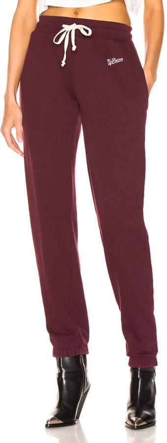 RE/DONE Sweatpant With Embroidery in Burgundy | FWRD