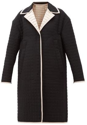 No.21 No. 21 - Reversible Quilted-satin Coat - Womens - Black Beige