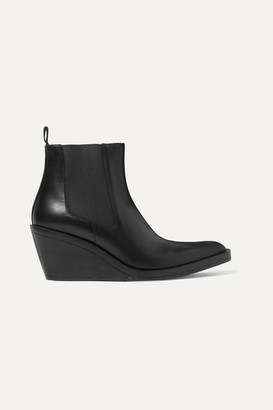 Acne Studios Leather Wedge Ankle Boots - Black