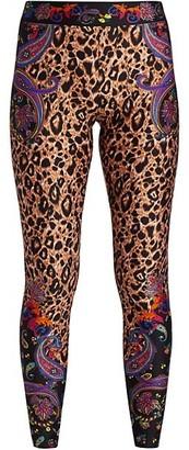 Versace Jeans Couture Paisley Leopard Print Leggings