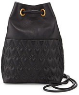 Reece Hudson Small Bowery Signature Embossed Bucket Bag, Black