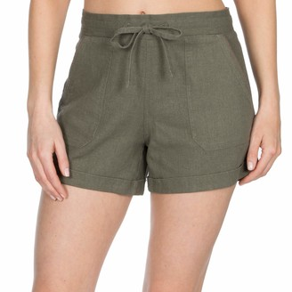 Metzuyan Ladies Linen Shorts with Pockets - Summer Beach Hot Pants Khaki Size 18