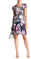 Komarov V-Neck Cap Sleeve Floral Printed Dress