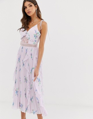 True Decadence premium cami dress with ruffle and pleated skirt in watercolour floral