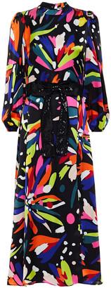 Olivia Rubin Seraphina Belted Printed Silk-satin Midi Dress