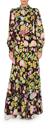 Andrew Gn Printed Silk Long-Sleeve Dress with Belt