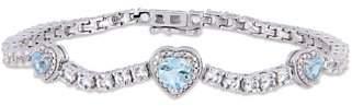 Tangelo 8-1/3 Carat T.G.W. Sky-Blue Topaz and Created White Sapphire Sterling Silver Triple Heart Halo Bracelet, 7