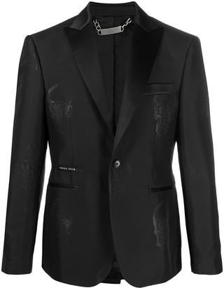 Philipp Plein Skull-Embroidered Blazer Jacket