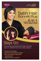 pHusion Satin Hair Bonnet Plus 2-in-1 Black