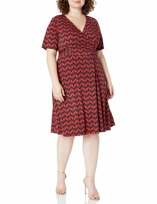 Donna Morgan Women's Plus Size Matte Jersey Geometric Print Faux Wrap Dress