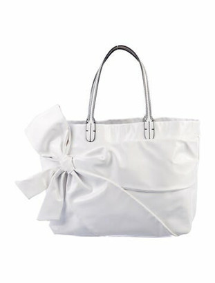 Valentino Patent Leather Bow Tote White