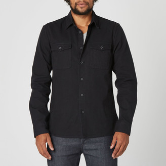 DSTLD Mens Military Shirt Jacket in Black