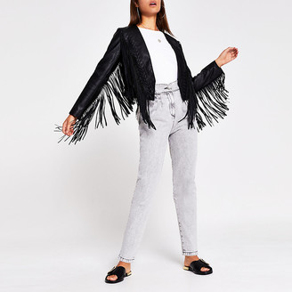 River Island Black faux leather fringe crop jacket