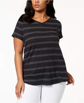 Eileen Fisher Plus-Size Striped V-Neck T-Shirt