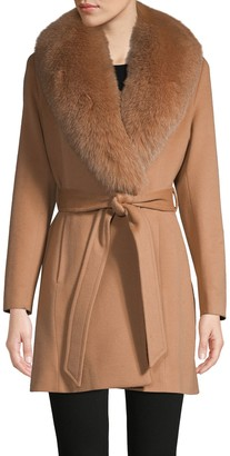 Sofia Cashmere Fox Fur-Collar Wool & Cashmere Belted Coat