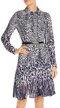 Elie Tahari Aisha Ombre Leopard Belted Dress