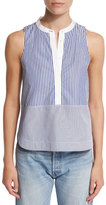 Elizabeth and James Jacey Sleeveless Striped Poplin Top, Multicolor