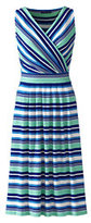 Classic Women's Petite Fit and Flare Dress-Evening Sapphire Moroccan Tile