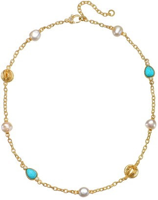 Judith Ripka Sterling & Clad Turquoise, Pearl &DMQ Necklace