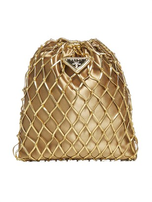 Prada Logo-plaque Net Bucket Bag