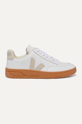 Veja V-12 Suede-trimmed Leather Sneakers - White