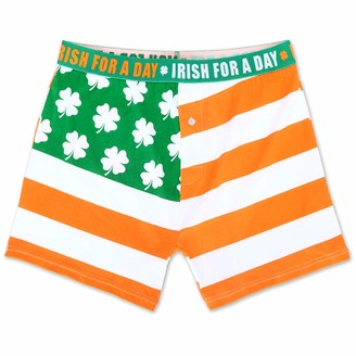 Mad Engine Men's St. Patrick's Day Irish Clover Flag Boxers