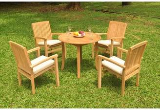 """3.1 Phillip Lim Rosecliff Heights Rickey 5 Piece Teak Dining Set Rosecliff Heights Table Size H x 36"""" L x 36"""" W"""