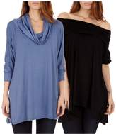 Dinamit Jeans Dinamit's Women 2 Pack Cowl Neck Poncho Black Denim S/L Sweater (2 Pack)