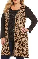 Allison Daley Plus Cheetah Print Faux Leather Trim Open Front Vest