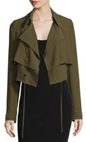Haute Hippie Cropped Drawstring Trench Jacket, Military