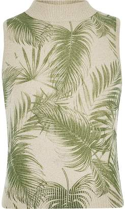 River Island Girls cream palm print knitted tank top