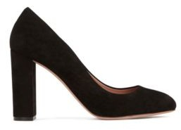 BOSS Block-heel pumps in Italian suede with leather soles