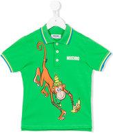 Moschino Kids - monkey print polo shirt - kids - Cotton - 6 yrs