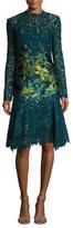 Monique Lhuillier Guipure Lace Jacquard Panel Flared Dress