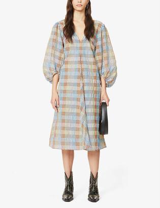 Ganni Gingham seersucker cotton-blend midi dress