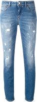 Dolce & Gabbana distressed skinny jeans - women - Cotton/Spandex/Elastane/Leather - 44