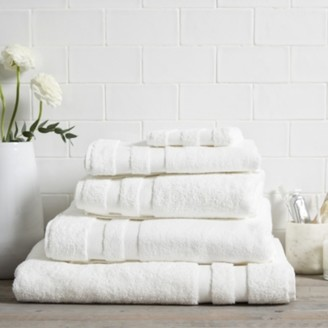 The White Company Classic Double Border Towel Face Cloth, White, Face Cloth
