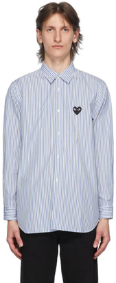 Comme des Garcons Blue Striped Heart Patch Shirt