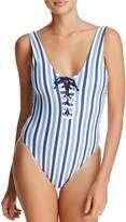Splendid Blue Stripe One Piece Swimsuit