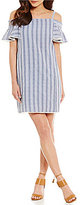 Maggy London Twin Stripe Seersucker Cold-Shoulder Shift Dress