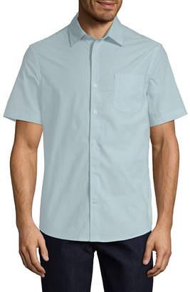 Claiborne Mens Short Sleeve Grid Button-Front Shirt