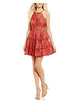 Jodi Kristopher Two-Tone Lace Fit-And-Flare Dress