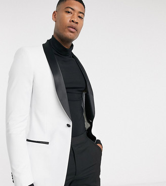Asos Design DESIGN Tall skinny tuxedo suit jacket in white with black lapels