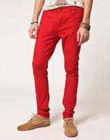 Asos Super Skinny Jeans In Red