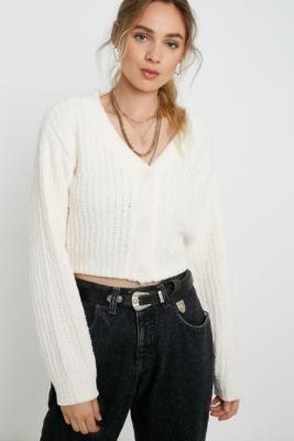 Urban Outfitters Plush Cropped Cardigan - beige XS at